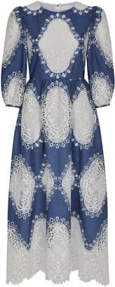 Borgo de Nor Constance Lace Panel Denim Dress