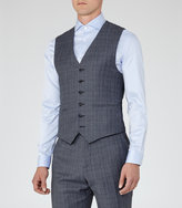 Reiss Reiss Monroe W - Checked Wool Waistcoat In Blue