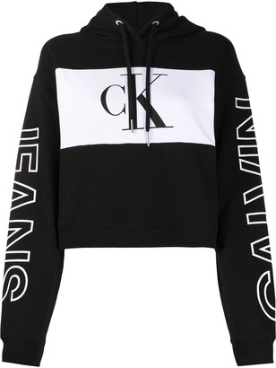 Calvin Klein Jeans Colour-Block Cropped Hoodie