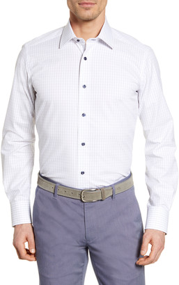 David Donahue Grid Print Trim Fit Dress Shirt