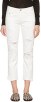 R 13 White Shredded Straight Boy Jeans