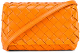 Bottega Veneta Leather Woven Crossbody Bag in Light Orange & Gold | FWRD