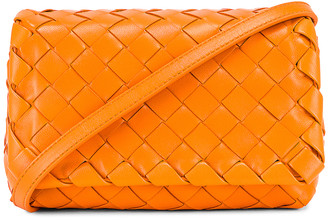 Bottega Veneta Leather Woven Crossbody Bag in Light Orange & Gold | FWRD