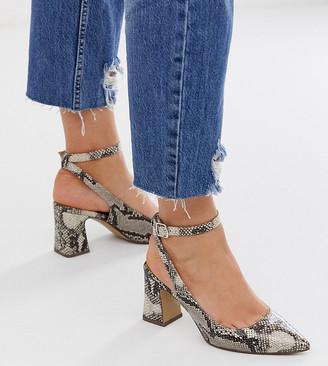 New Look wide fit pointed block heel pumps in snake print