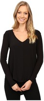 Calvin Klein Jeans Mixed Media Solid Long Sleeve Blouse