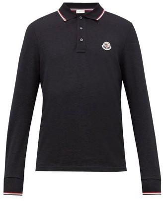 Moncler Logo-applique Cotton-pique Long-sleeve Polo Shirt - Navy
