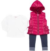 Little Lass Wine Ruffle Hooded Puffer Vest Set - Toddler & Girls