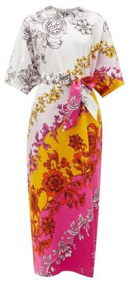 Erdem Rivera Modotti Wallpaper-print Cotton-sateen Dress - Pink Print