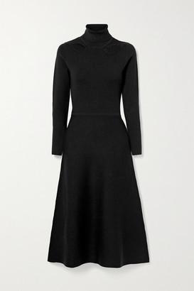 Jason Wu Cutout Stretch-knit Turtleneck Midi Dress - Black