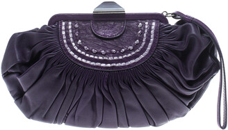 Christian Dior Purple Pleated Leather Frame Clutch