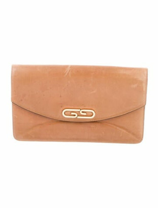 Gucci Vintage GG Leather Envelope Clutch Brown
