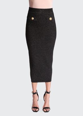 Balmain Metallic Knit Body-Con Midi Skirt