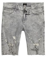 River Island Mens Grey acid wash ripped skinny fit denim shorts