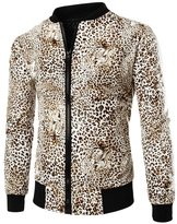 uxcell® Men Stand Collar Long Sleeves Leopard Prints Bomber Jacket M
