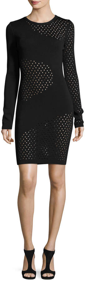 Thierry Mugler Long-Sleeve Mesh-Inset Dress
