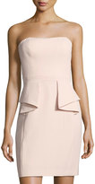 Aidan Mattox Strapless Sheath Dress w/ Peplum, Light Pink