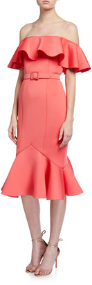 Badgley Mischka Off-the-Shoulder Scuba Ruffle Dress