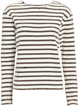 R 13 Distressed Breton Stripe T-Shirt