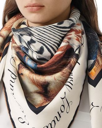 Burberry Animal Portraits Silk Twill Scarf