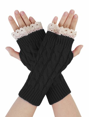 sourcingmap Unisex Winter Lace Warmers Ribbing Knitted Thumb Hole Gloves Burgundy