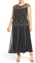 Pisarro Nights Plus Size Women's Beaded Illusion Neck Sleeveless Gown