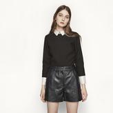 Maje High-waisted leather shorts