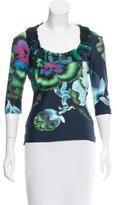 Roberto Cavalli Silk-Accented Floral Print Top