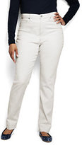 Lands' End Women's Plus Size High Rise Straight Jeans - Garment Dye-Flax