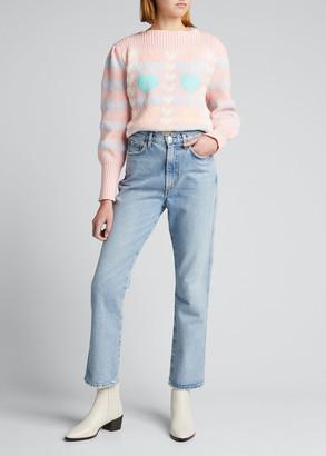 LoveShackFancy Gizela Boat-Neck Intarsia Sweater