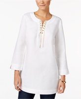 JM Collection Linen-Blend Lace-Up Tunic, Only at Macy's