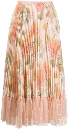 RED Valentino Micro-Pleated Floral Skirt
