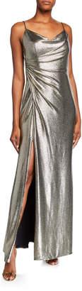 Aidan Mattox Cowl-Neck Sleeveless Foiled Jersey Column Gown