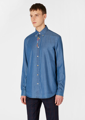 Paul Smith Men's Classic-Fit Blue Chambray Shirt With 'Artist Stripe' Placket Embroidery