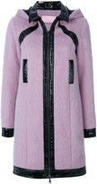 Giamba patent detail hooded coat