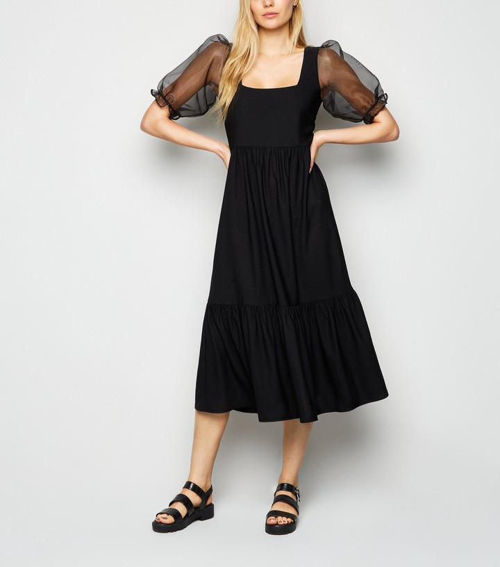 New Look Organza Puff Sleeve Midi Dress