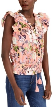 INC International Concepts Inc Cotton Floral-Print Lace-Up Ruffle-Sleeve Blouse, Created for Macy's
