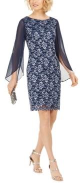 Connected Chiffon-Sleeve Tonal Lace Dress