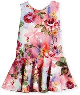 Helena Sleeveless Floral Jacquard Flounce Dress, Multicolor, Size 2-6
