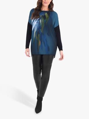 Live Unlimited Curve Floral Print Contrast Top, Black/Multi