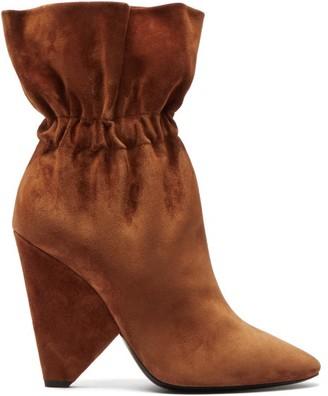 Saint Laurent Niki Slouched Suede Boots - Tan