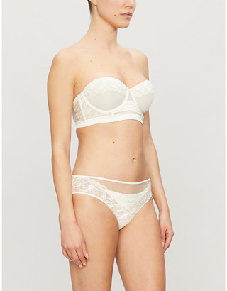 Calvin Klein Spring lace-embroidered stretch-jersey bra