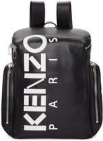Kenzo Black Leather Logo Backpack