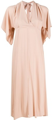 Semi-Couture Flutter-Sleeved Midi Dress