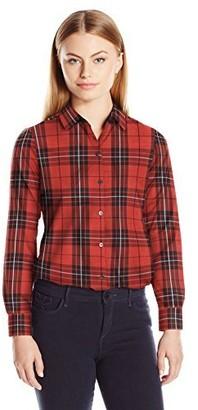 Foxcroft Women's Petite Size Long Sleeve Holiday Tartan Shirt