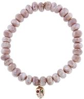 Sydney Evan Skull on Mystic Salmon Moonstone Beaded Bracelet