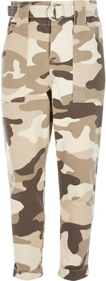 River Island Girls Beige camo paperbag trousers