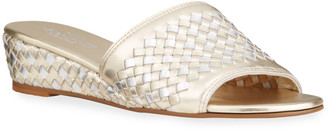 Sesto Meucci Grant Woven Metallic Wedge Comfort Sandals