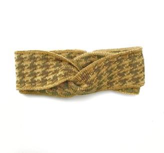 Studio Myr Hairband In Pieds-De-Poule Pattern-Moss