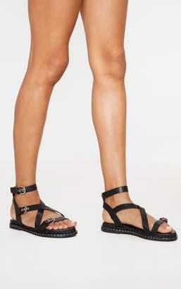 PrettyLittleThing Black Chunky Sole Strappy Sandal
