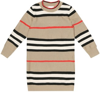 BURBERRY KIDS Icon Stripe wool-blend dress